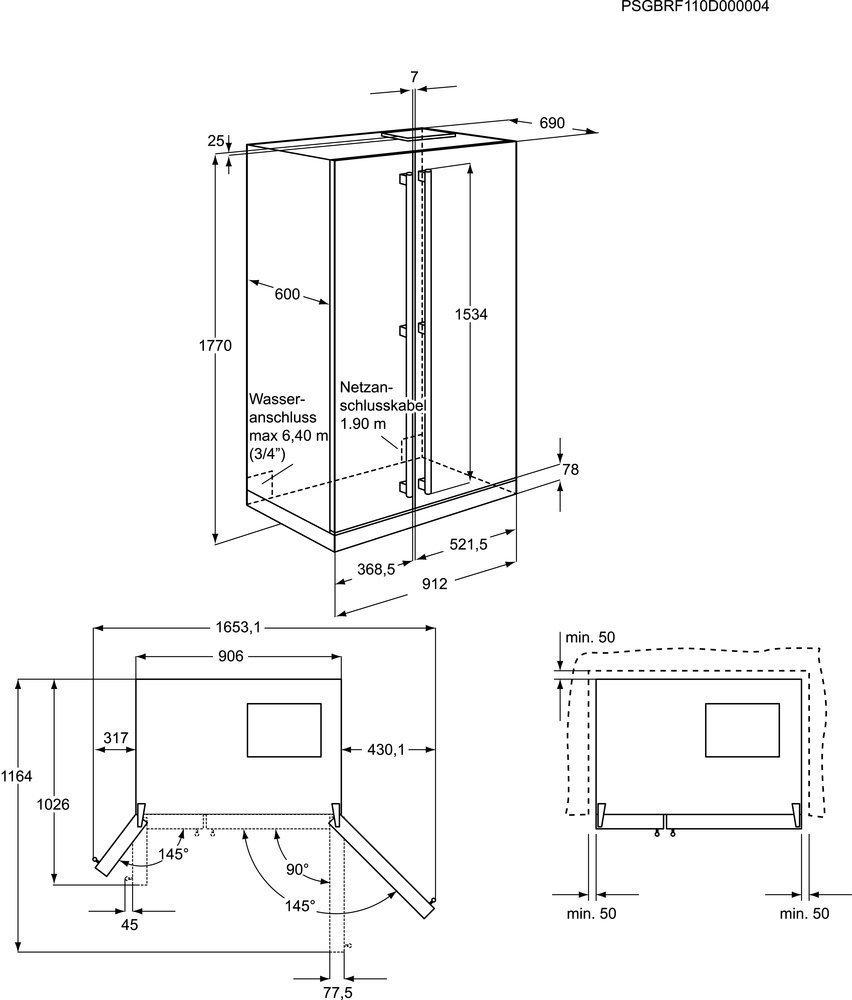 Aeg s66090xns1 side by side koelkast rvs de schouw witgoed - Medidas frigorifico americano ...