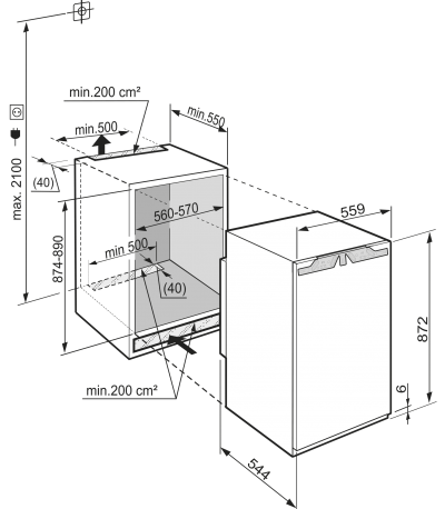 Maattekening LIEBHERR koelkast inbouw IKP1660-61