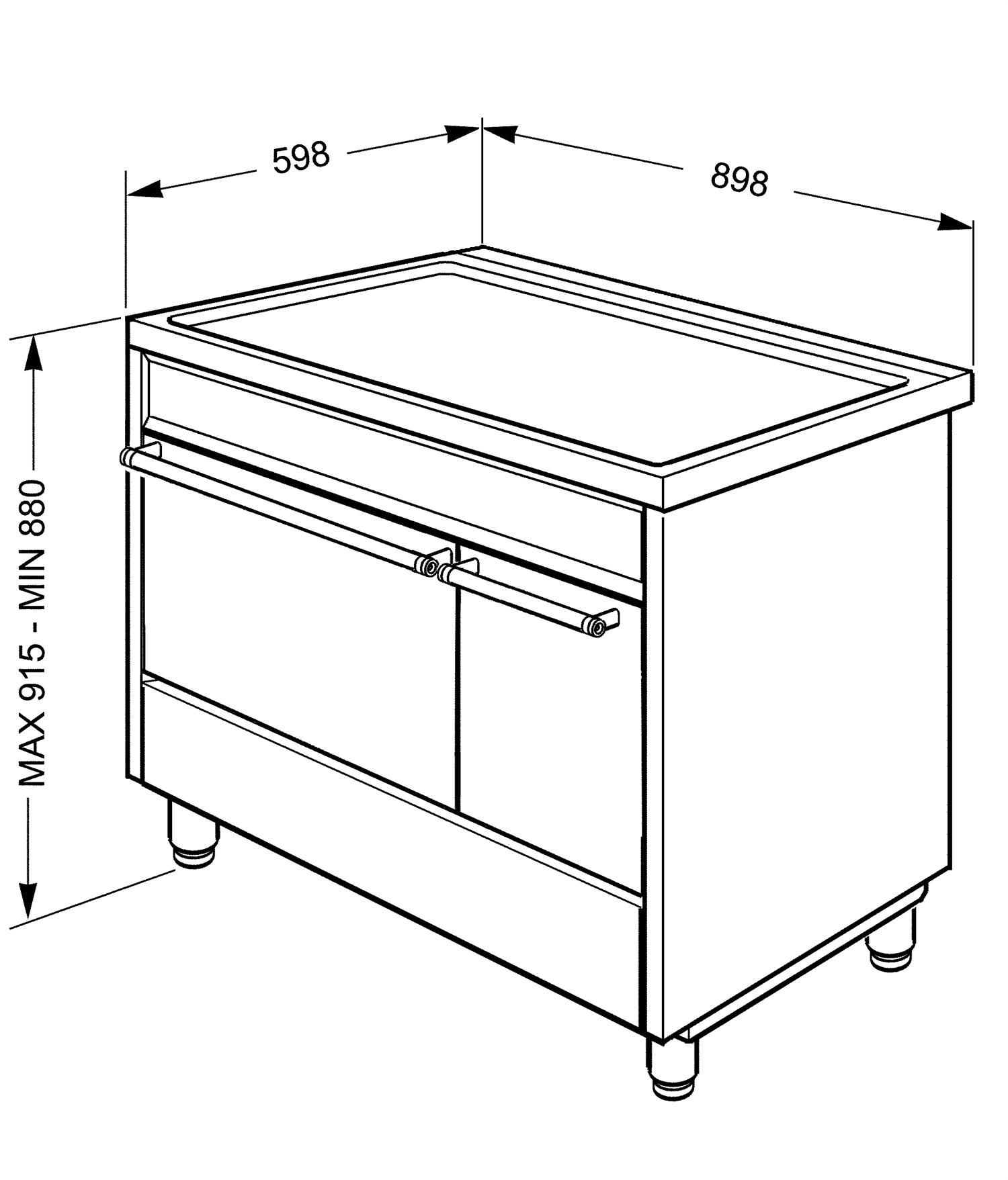 Maattekening SMEG fornuis inductie rvs C92IPX9