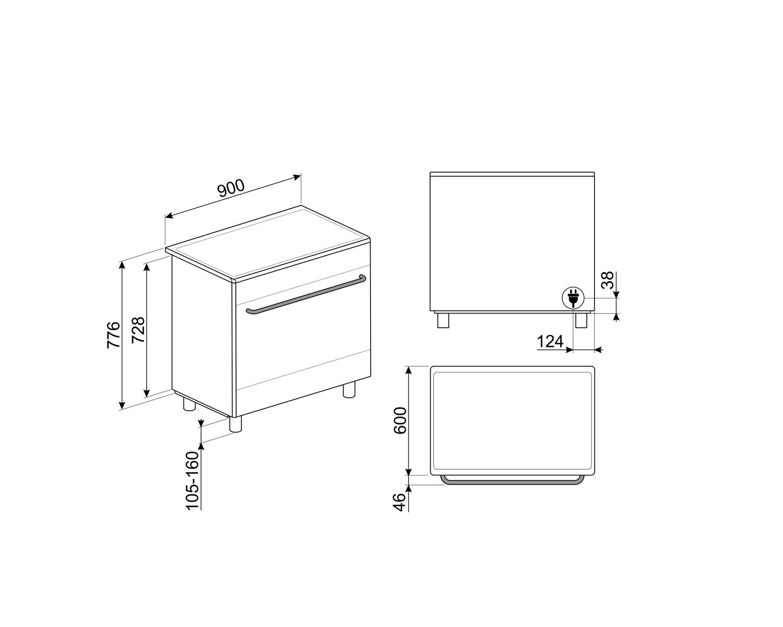Maattekening SMEG fornuis inductie antraciet CG90IANT9