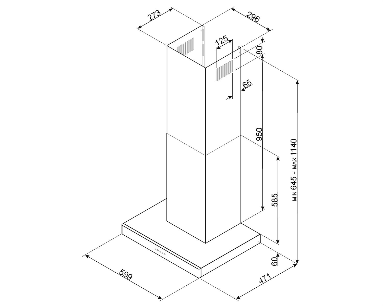Maattekening SMEG afzuigkap wand KS60XE2