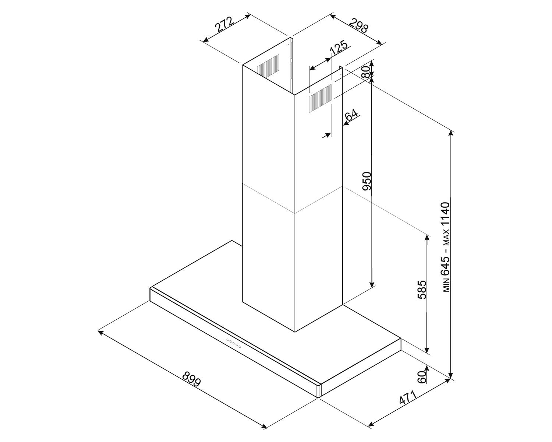 Maattekening SMEG afzuigkap rvs KS90XE2